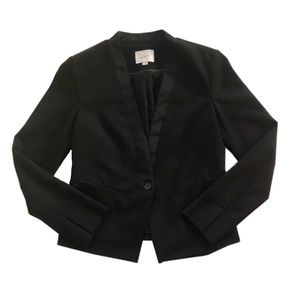 Loft Collarless single button tuxedo blazer